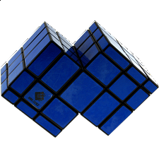 Mirror Double Cube - Black Body with Blue Labels - Other Rotational Puzzles