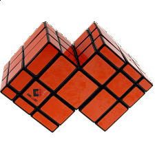 Mirror Double Cube - Black Body with Orange Labels - Other Rotational Puzzles