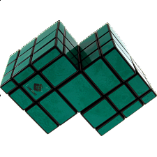 Mirror Double Cube - Black Body with Green Labels - Other Rotational Puzzles