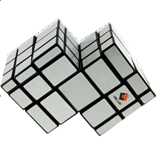 Mirror Double Cube - Black Body with White Labels - Other Rotational Puzzles
