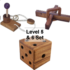 .Level 5 and 6 - a set of 3  wood puzzles