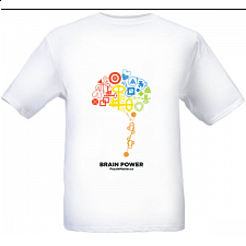 Brain Power - White - T-Shirt