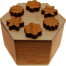 Hexagon Secret Lock Box - Wood Puzzles