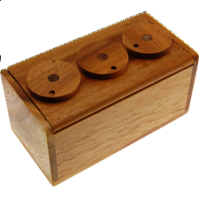 3 Wheel Combination Secret Lock Box - Wooden Puzzle Boxes
