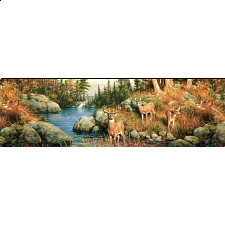 Panoramic: Deer and Pines