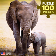 Mini Puzzle - Elephant & Baby - 1-100 Pieces