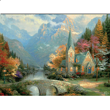 Thomas Kinkade: Inspirations - The Mountain Chapel - Large Piece - 101-499 Pieces