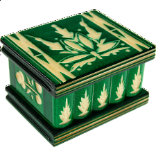 Romanian Puzzle Box - Small Green - Wood Puzzles