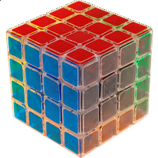 AoSu 4x4x4 Clear Body (with Clear PVC Stickers) for Speed-cubing - Other Rotational Puzzles