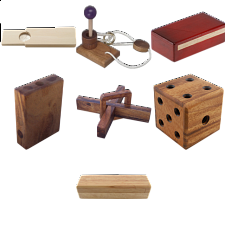 .Level 5 and 6 - a set of 7  wood puzzles - Puzzle Master Wood Puzzles