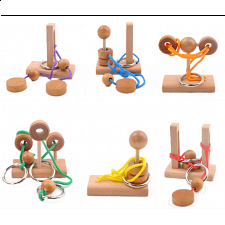 Mini Rope Puzzles - Set of 6 - Wood Puzzles