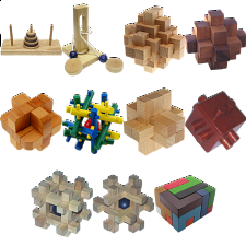 .Level 9 - a set of 10 wood puzzles - Puzzle Master Wood Puzzles