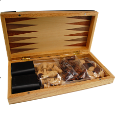 Wooden Folding Magnetic Chess & Backgammon Set - Chess