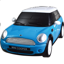 3D Puzzle Cars - Mini Cooper (Blue) - Plastic Interlocking Puzzles