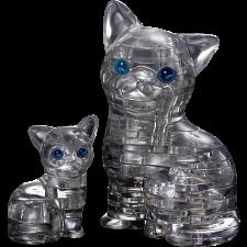 3D Crystal Puzzle - Cat & Kitten (Black) -