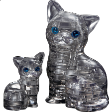 3D Crystal Puzzle - Black Cat & Kitten - Plastic Interlocking Puzzles