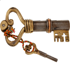 Key Shaped Iron & Brass Puzzle Lock - Puzzle Locks