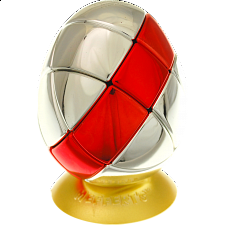 Metalised Egg 3x3x3 - Silver with Red Stripe - Adam G. Cowan