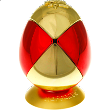 Metalised Egg 2x2x2 - Red & Gold Checker - Adam G. Cowan