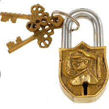 Brass Small Figure Padlock - Regular Lock - Padlocks