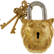 Brass Lion Padlock - Regular Lock - Padlocks