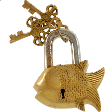 Brass Small Fish Padlock - Regular Lock - Padlocks