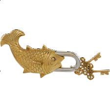 Brass Fish Trick Puzzle Padlock - Puzzle Locks