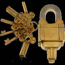Brass 6 Key Square Trick Puzzle Padlock - (3 keys x 2) -