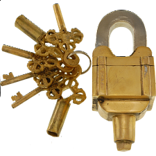 Brass 6 Key Square Puzzle Padlock - Puzzle Locks