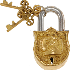Brass Puzzle Trick Padlock - Sir Thomas Blamey - Puzzle Locks