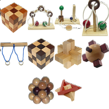 .Level 8 - a set of 10 wood puzzles - Puzzle Master Wood Puzzles