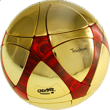 Traiphum Megaminx Ball - Metallized Gold embedded Clear Jade Red - Other Rotational Puzzles