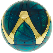 Traiphum Megaminx Ball -Clear Jade Blue embedded Metallized Gold - Other Rotational Puzzles