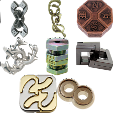 .Level 10 - a set of 8 Hanayama puzzles - Hanayama Metal Puzzles