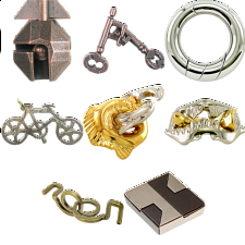 .Level 5 - a set of 7 Hanayama puzzles - Wire & Metal Puzzles