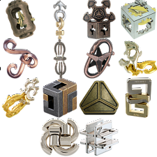 .Level 7 - a set of 13 Hanayama puzzles - Hanayama Metal Puzzles