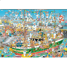 Jan van Haasteren Comic Puzzle - Tall Ship Chaos - 1000 Pieces