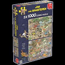 Jan van Haasteren Comic Puzzles- 2 x 1000 Piece Safari/The Storm -