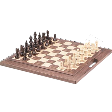 Deluxe Wooden Chess Set - Folding 16 inch walnut with Handle - Chess Sets - Board & Pieces