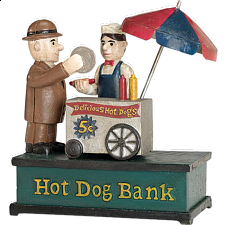 Hot Dog Vendor Bank - Mechanical Banks