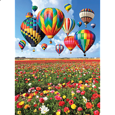 Colorluxe: Colorful Balloons Over a Field of Flowers - Jigsaws