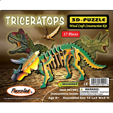 Triceratops - Illuminated 3D Wooden Puzzle - 1-100 Pieces
