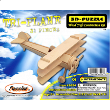 Tri-Plane - 3D Wooden Puzzle - 1-100 Pieces