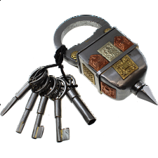 5 Key Iron Puzzle Lock - Wire & Metal Puzzles