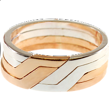 4 Band - Silver & Bronze Puzzle Ring - Puzzle Rings