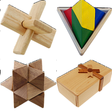 .Level 7 - a set of 6 wood puzzles - Puzzle Master Wood Puzzles