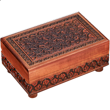Brown Carved Puzzle Box - Wooden Puzzle Boxes