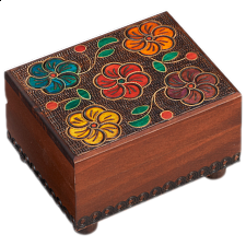 Wooden Floral Puzzle Box -