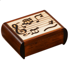 Music Notes Trick Box - Wooden Puzzle Boxes