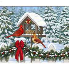 Cardinals at Christmas - Large Piece Format - Jigsaws